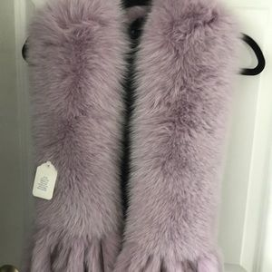 Dyed lilac fox stole/wrap with tails
